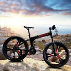 "26"" Folding Mountain Bike Full Suspension Bicycle 21 Speed MTB Mens Bikes"