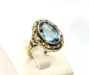 Jugendstil Ring in 333 / 8kt Gelbgold mit Aquamarin