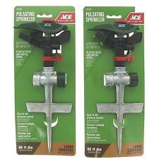 2 ACE Pulsating Sprinkler Head Metal Spike Lawn Watering NEW