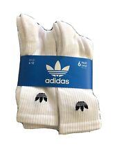 White Crew Socks Length Mid Calf Men's Large 6 - 12 NEW 6-Pair Adidas