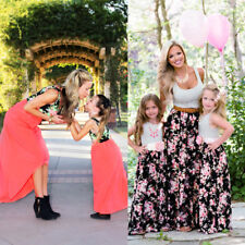 Mother and Daughter Casual Boho Stripe Floral Maxi Dress Mom&Kid Matching Outfit
