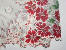 '50's Vintage nwt hand painted holiday Christmas poinsettia hand pr nted
