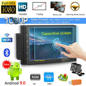 "7"" Double 2Din Car Stereo GPS SAT NAV Radio MP5 Player Android 10.0 +Rear Camera"