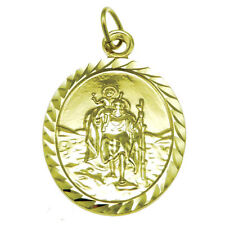 9CT GOLD ST SAINT CHRISTOPHER PENDANT CHAIN NECKLACE WITH GIFT BOX - 3.4g