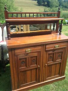 Antique Arts & Crafts Mirrored Chiffonier Sideboard Buffet Dresser