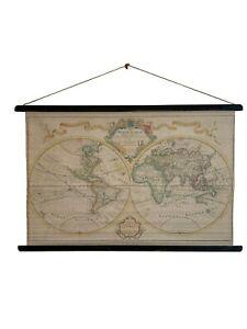 Vintage World Atlas Map, Classroom Map, School Chart, School Map, Wall Decor
