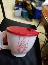 Vintage Tupperware MIX N STOR Measuring Batter Bowl W/ Red Lid 2 Qt 8 Cup 4 Pnts