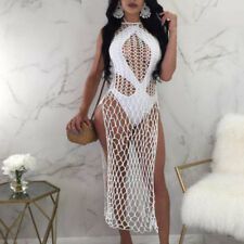 Summer Women's Sexy Crochet Split Fishnet Hollow Out Dress Cover-up Bathing Suit