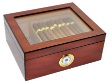 Cigar Humidor Large Cedar Wood Desktop Tempered Glasstop Humidifier 50 Cigars