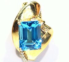 Vintage 14K Solid Gold Natural Topaz Diamond 9.0CT Engagement Necklace Designer
