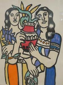 """Fernand Leger (French 1881-1955), Two Woman Holding a Vase 35""""x29"""" 138/500 Litho"""
