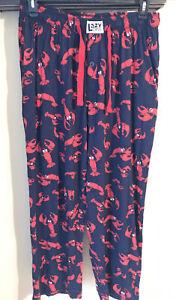 Lazy One Unisex Pajama Pant Lobster Print SZ XL Navy & Red
