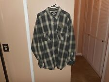 Men's Harley Davidson Embroidered Plaid Button Front Woven Garage Shop Shirt XL