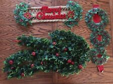 Vintage 8 Foot Plastic Christmas Garland and 2 Vintage Door Decorations.