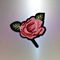 Pink Rose Patch — Iron On Badge Embroidered Motif Applique — Flower Flowers Cute