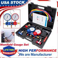 4 Way R134A R410a AC Manifold Gauge Set Auto Service HVAC A/C Refrigeration Kits