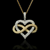 18k Two Tone Gold Finish 0.50ct Round Cut Diamond Infinity Heart Pendant Chain