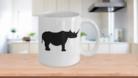 Rhino Mug White Coffee Cup Funny Gift for Animal Lover Zoo African Safari Horn
