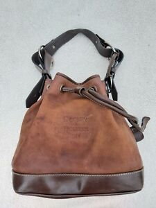 Dooney & Bourke BROWN Full Grain Leather  Hobo Drawstring Bucket Bag Shoulder