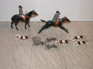 Vintage Britains Fox Rabbit Mounted Horseman Woman Dogs Rabbits Lead Figures