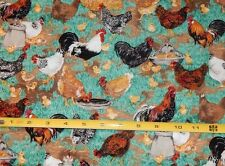 BTY Free Range Chickens on Green Makower fabric quilt aprons crafts cotton Farm