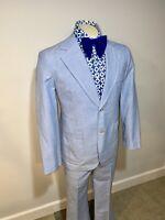 Vtg 60s 70s BLUE Two Piece LEISURE SUIT Mens 40 Jacket 34 29 Pants Tuxedo Disco