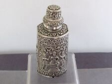 ARGENT MASSIF CHINESE SILVER INDIAN SILVER BOX BOITE A THE  EXTREME ORIENT