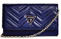 NWT GUESS STELLA WALLET HANDBAG Blue Logo Clutch & Chain Shoulder Bag GENUINE