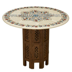 Wooden Coffee Table Marble Inlay Top Living Room Sofa Furniture Home Decor