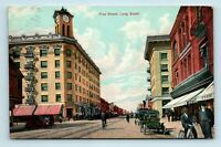 Long Beach, CA - EARLY 1900s PINE STREET SCENE - BICYCLE & OLD CARS - POSTCARD