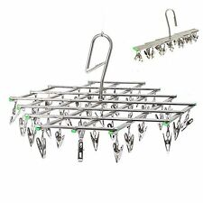 Folding Drying Rack 35 Pegs Clothes Sock Hanger Stainless Steel Fold Airer Dryer
