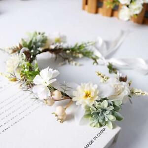 Bridal Green Leaf Imitation Flower Crown Headband Women Bohemian Garland Wedding