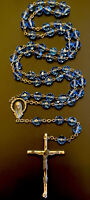 Vintage Catholic Blue Glass 5 Decade Rosary, Silver Tone Crucifix Italy