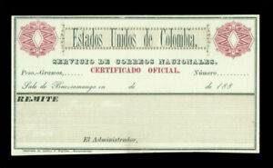 """COLOMBIA 1886 INSURED LETTER STAMPS Cubierta """"Bucaramanga"""" Scott GO11a wmked MNH"""
