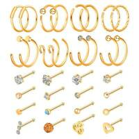 32PCS 20g C-Shaped Nose Hoop Ring Surgical Steel CZ Bone Stud Ear Lip Piercing
