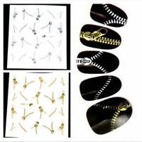 Trendy Zipper Nail Art Water Transfers Stickers Decals Metallic Gold Silver BDAU