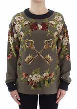 Nuova con Etichetta Dolce & Gabbana Verde Key Stampa Floreale Camicetta di Seta