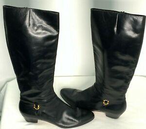 Salvatore Ferragamo Women's Leather Boots Black Size 10 NEW