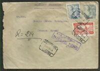 SPAIN TO ARGENTINA, VIGO 393 Cancel on Registered Cover 1944, VF