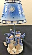 Snowman Tea Light Candle Holder With Metal Shade Table Decoration Winter Decor