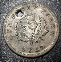 1840 Canada Nova Scotia One 1 Penny Token Victoria Rare Coin