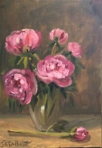 Original oil painting art floral vintage style shabby chic vase of pink peonies
