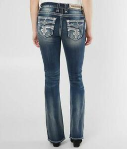 Rock Revival Womens Glade Easy Stretch Boot Cut Bling Jeans 28 29 30 31 32 33 34