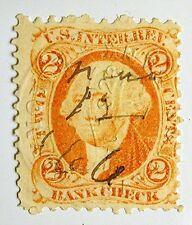 US Revenue Stamp #R6c – 1862-71 2-cent Bankcheck Orange - Manuscript & Embossed