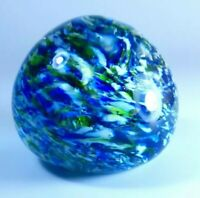 Vintage Wedgwood Speckled Blue & Green Rich Colours Glass Art Decor Paperweight
