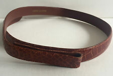 "New Donna Karan Brown Alligator Belt Strap Sz. Medium 3/4"" Wide"