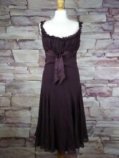 TED BAKER silk dress plum strappy size 3 uk 12