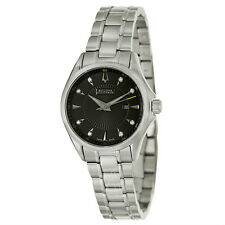 Accutron 63P107 Womens Brussels Diamond Stainless Black Dial Watch