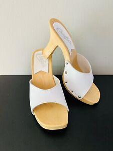 Vintage 1980's Candies Original Sandals High Heels Slides Sexy White 6/37 Italy