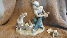 Lladro Boy With Dogs
